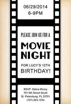 50 Sexy Club Party Flyer and poster Design Inspiration Birthday Invitation Text, Movie Night Invitations, Free Printable Birthday Invitations, Printable Party, Movie Night Party, Movie Nights, Kino Party, Cinema Party, Hollywood Party