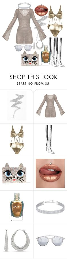 """""""Dare To Be Bold In Silver & Gold"""" by andrea-hiebert ❤ liked on Polyvore featuring NYX, River Island, Balenciaga, Karl Lagerfeld, Swarovski, Belk & Co. and Christian Dior"""