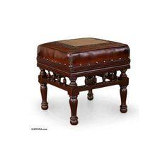 NOVICA Collectible Traditional Leather Wood Ottoman Furniture ($193) ❤ liked on Polyvore featuring home, furniture, ottomans, brown, homedecor, wood footrest, brown ottoman, novica, brown leather furniture and wood footstool