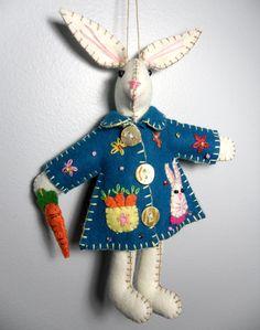 Wool Felt Bunny Plush Ornament Blue Coat Bunny with beautiful carrot basket pattern design Easter Spring Ornament 7.5. $15.80, via Etsy.