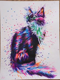 This is a beautiful psychedelic kitten print, perfect for adding splashes of colour to any wall #psychedelic #kitten #colourful #painting #splash #rainbow #acrylic #art #print #fineart #etsy #instagood #gallery #acrylic #abstract #color #nature #arts #instagram #drawings #artistic #artsy #artlovers #watercolorpainting #beautiful #abstractpainting #handmade #canvas #photooftheday #digitalpainting #fanart #artcollector #like #kunst #k #colors #bhfyp #illustrator #interiordesign #sketching… Animal Art, Art Painting Oil, Surreal Art, Star Painting, Abstract Painting, Modern Art Styles, Animal Paintings, Magic Cat, Fine Art Painting Oil