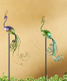 Take a look at the Iron Peacock Stake Set on #zulily today!