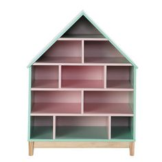 Wooden doll's house bookcase in pink W Berlingot
