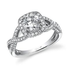 Crisscross shank with diamonds and a cushion shaped halo - Sylvie Vintage Collection engagement ring