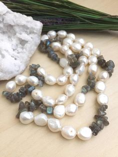 Freshwater Pearl and Labradorite Necklace Hand knotted