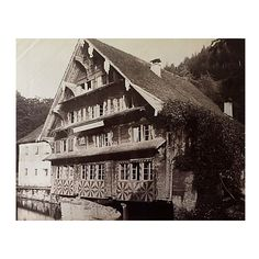 Pre-Owned Swiss Chalet Antique Photo C.1890 ($75) ❤ liked on Polyvore featuring home, home decor, wall art, sepia, antique home decor, photo wall art, sepia wall art, paper wall art and photography wall art