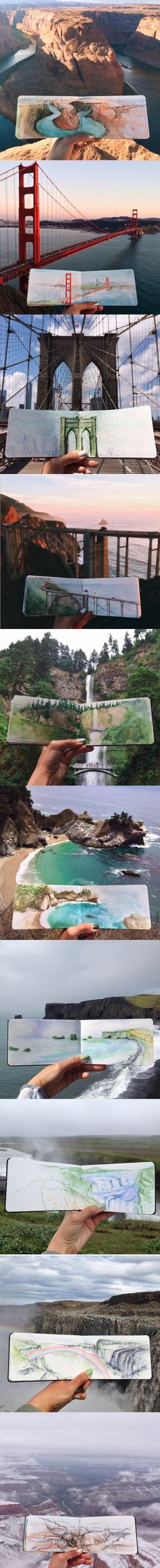 Art Teacher Paints Watercolor Landscapes Using Water Found at Her Destinations     Hannah Jesus Koh does not bring ordinary tap water with her when she creates watercolor paintings of her stunning surroundings. Using liquid straight from the environment that she wants to portray, the high school art teacher paints remarkable landscapes within the confines of her journal.