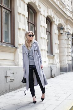 Linda Juhola in long grey coat by New  Look, grey top and black pants from H&M, Ray Ban sunglasses, Louis Vuitton bag and Mango shoes