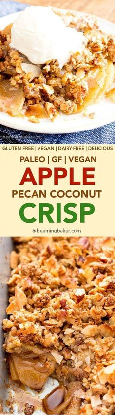 Paleo Apple Pecan Coconut Crisp Recipe (V, GF): a super crisp, nutty topping blanketing warm, apple cinnamon-spiced filling. Vegan, Paleo, Gluten-Free, Dairy Free.