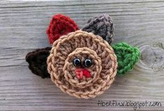 Free Crochet Pattern...Easy Turkey Applique! - Fiber Flux...Adventures in Stitching