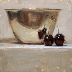 """Reflecting Love"" - by Carol Marine - oil - 6x6 - Metal Bowl & Cherries"