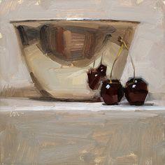 """""""Reflecting Love"""" - by Carol Marine - oil - Metal Bowl & Cherries"""