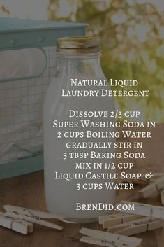 DIY Laundry Detergent Liquid: 2 Non-Toxic Borax Free Recipes Small batch DIY liquid laundry detergent with no Borox. Uses just 3 ingredients and rates an A on the EWG Healthy Cleaning Scale. Check out our 2 natural recipes for homemade laundry detergent. Deep Cleaning Tips, Cleaning Recipes, Green Cleaning, House Cleaning Tips, Natural Cleaning Products, Cleaning Hacks, Natural Products, Cleaning Supplies, All You Need Is