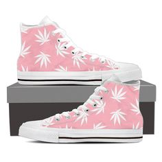 Dank Master Weed High Top Canvas Shoes - Pink -  420 Stoner Fashion brand https://www.masterdank.com/collections/shoes