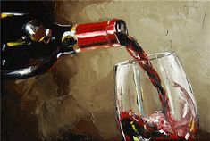 wine painting | Pouring Wine Painting by Victor Bauer - Pouring Wine Fine Art Prints ...