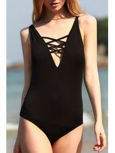 SHARE & Get it FREE | Black Cut Out Plunging Neck One-Piece SwimwearFor Fashion Lovers only:80,000+ Items • New Arrivals Daily Join Zaful: Get YOUR $50 NOW!