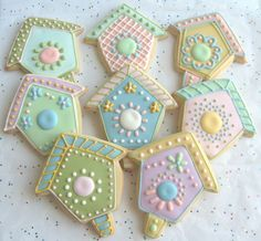 Bird House Decorated Cookie Favors - Bird House Decorated Cookies - 1 Dozen. $35.99, via Etsy.
