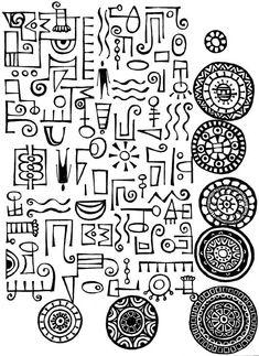 Miriam Badyrka is The Doodler: imaginary alphabet doodles Tangle Doodle, Doodles Zentangles, Zen Doodle, Doodle Art, Doodle Patterns, Zentangle Patterns, Native Art, Native American Art, Motifs Aztèques