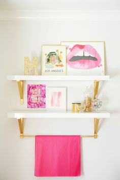 Monika & Troy Hibbs home featured in Style At Home Tracey Ayton Photography Teen Girl Rooms, Girls Bedroom, Bedroom Decor, Tween Girls, Bedrooms, Gold Wall, Pink Shelves, Bathroom Art, Home Decor Ideas