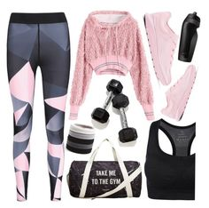 """""""Sweat Sesh: Gym Style"""" by deeyanago ❤ liked on Polyvore featuring NIKE, MANGO and L. Erickson"""