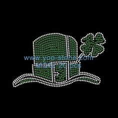 97dd9789 Sale Newest Green Shamrock Hat Hot Fix Korean Rhinestones Decorative T-shirt  Rhinestone Art,