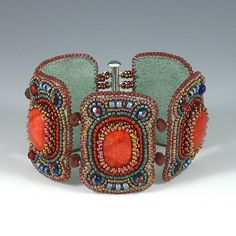 ~~Sponge Coral Beaded Bracelet ~ sponge coral, seed beads, Czech crystals | Kate Tracton~~