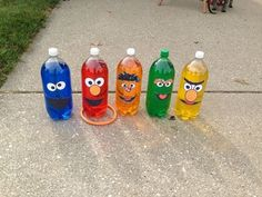 Sesame Street Ring Toss Game - plus a few other game ideas - Also includes the link to FREE printables for the faces for the ring toss bottles.: