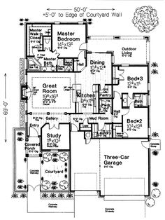 First Floor Plan of Country   European   House Plan 97824