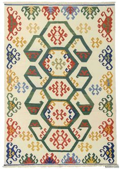 New Turkish Kilim Rug hand-woven with vegetable-dyed and hand-spun wool. The fringes can be removed upon request. If you like the design of this rug, we can custom make it to meet your color and size requirements.