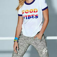 Retro good vibes shirt Victoria Secret pink retro collection. Limited time shirt. Sold out online and In stores. Spring 2016 collection PINK Victoria's Secret Tops Tees - Short Sleeve