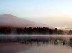 A misty Big Moose Lake in the Adirondacks