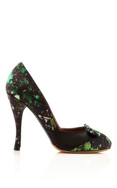 Shop Frida Floral Printed Satin Pumps by Tabitha Simmons Now Available on Moda Operandi