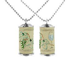Cork Jewelry - Grapes w/Wine Glass-Green