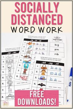 Socially distanced literacy center ideas for kindergarten, first, and second grade students. These socially distant center activities will allow students to engage in safe and meaningful word work activities. Centers include word building activities, cvc activities, word sorts, word ladders, and more! Download a FREE DIGITAL and PRINTABLE word building activity and a free set of word sorts! #literacycenters #wordworkideas #sociallydistancedclassroom