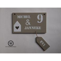 Naambord voordeur met naamlabel - Wis en Waarachtig