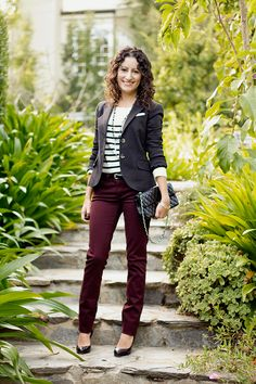 Wine colored pants <-- Wine pants can pair with navy, khaki, brown, olive, grey, teal, wine...get my drift?