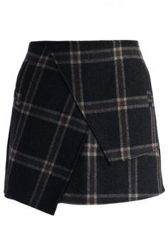 Asymmetric Tartan Wool-blend Bud Skirt