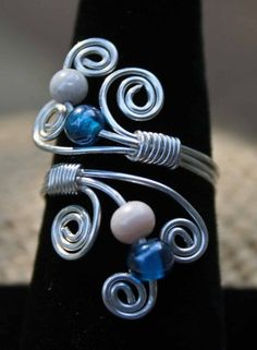 Spiral Wire Wrap Beaded Ring