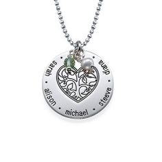 Sterling Silver Engraved Heart Family Tree Necklace