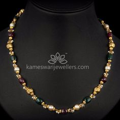 Ruby Emerald Bead Mala with Gold Balls Gold Mangalsutra Designs, Gold Earrings Designs, Gold Designs, Necklace Designs, Buy Gold Chain, Gold Chain Design, Pearl Design, Pearl Jewelry, Gold Jewellery