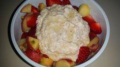SteVi frühstückt sehr gesund und lecker: gepufften Amaranth mit Sojajoghurt und Obst