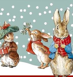Christmas Animals, Christmas Books, Christmas Illustration, Children's Book Illustration, Peter Rabbit Pictures, Beatrix Potter Illustrations, Beatrice Potter, Paper Flower Wreaths, Christmas Scenery