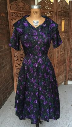 dd867d43b38a 1950s Double Breasted Shirt Dress With Purple Flowers Vintage Watercolor  Print Day Dress