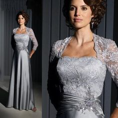 2016 New Silver Long Mother Of The Groom Dresses With Jacket Plus Size Mother Of The Bride Dress robe mere de la mariee 2016