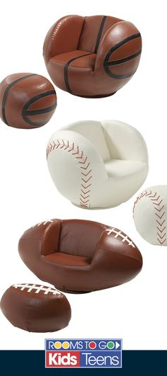 Our realistic sports ball chair and ottoman sets make the perfect place to watch the game.