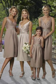 Like The Color V Neck Ruched Beaded Pale Brown Bridesmaid Dress Tea Length