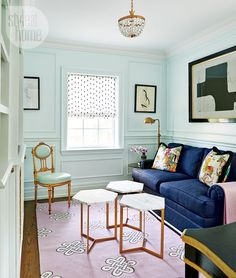 A Lovely Library. Interior Design: Jessica Waks in Style At Home. Style At Home, My Living Room, Living Spaces, Home Interior Design, Interior Decorating, Decorating Ideas, Mint Green Walls, Blue Walls, Magical Home