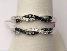 10kt White Gold Wave Design Solitaire Enhancer Black Diamonds Ring Guard Wrap Jacket (0.27ct. tw) by RG&D