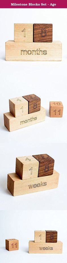 "Milestone Blocks Set - Age. ALL ORDERS AFTER 12/9 WILL ARRIVE AFTER CHRISTMAS. This is a great set to record your baby's milestones. It's also a fantastic way to capture your pregnancy week by week or use as a pregnancy announcement. Share with friends and family, perfect for social media. 3 - 1.5"" square blocks, each has 4 numbers engraved (1-12) 1 - 1.5"" x 4.5"" block , engraved on 4 sides (days, weeks, months, year) Cotton drawstring bag for gift giving."