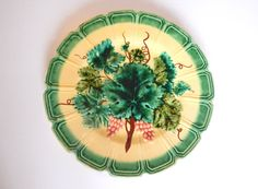 Antique French Majolica Plate c.1890 Hand by Vintagefrenchlinens